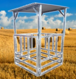 Heavy Duty Round Bale Hay Feeder With Roof